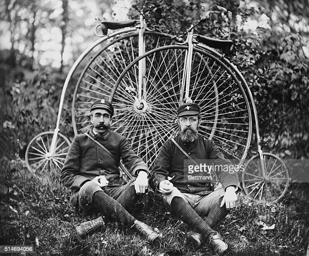 American wheelmen reposing in the woods Photograph ca 1890