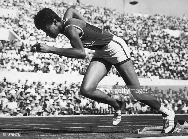 American Wilma Rudolph springs from the starting blocks in a qualifying heat for the women's 200-meter dash at the 1960 Summer Olympics in Rome. She...