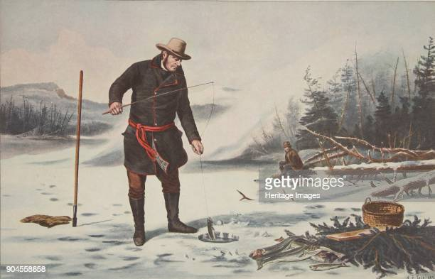 American Winter Sports Trout Fishing on Chateaugay Lake pub 1856 Currier Ives