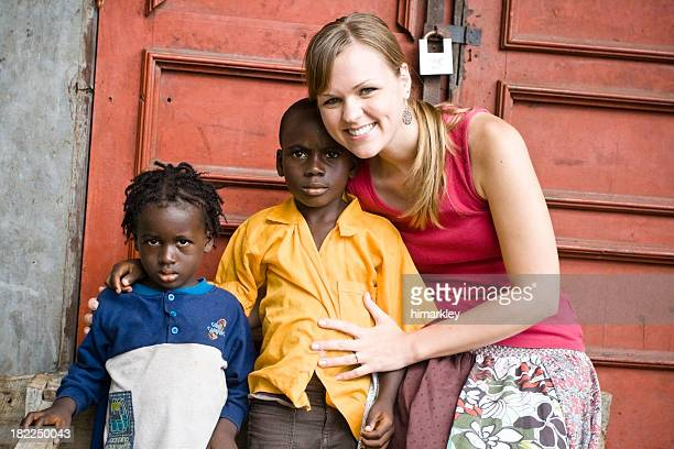 American Woman With African Children