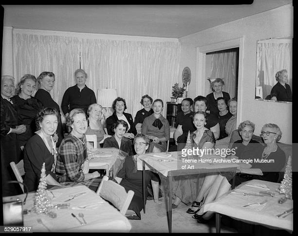 American Women in Radio and TV members including Toki Schalk Johnson standing on left JaneEllen Ball seated third from right Kay Newman seated behind...