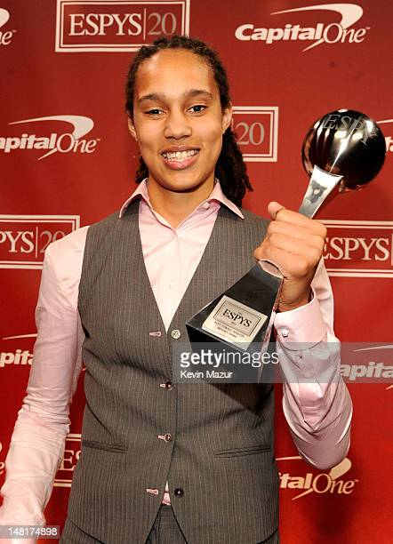 American women's college basketball player Brittney Griner winner of the Best Female Athlete Award poses backstage at the 2012 ESPY Awards at Nokia...