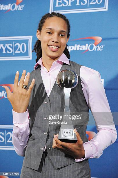 American women's college basketball player Brittney Griner, winner of the Best Female Athlete Award, poses backstage at the 2012 ESPY Awards at Nokia...