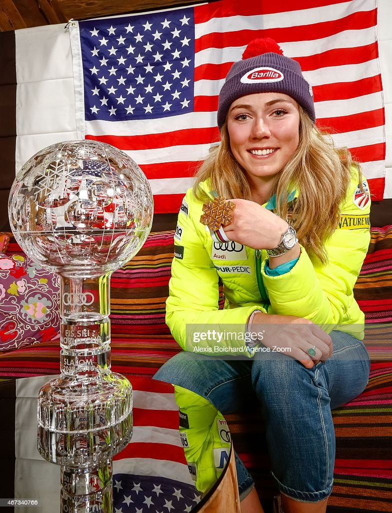 American World Championship medallist and World Cup globe winner Mikaela Shiffrin pose for a photo shoot during the Audi FIS Alpine Ski World Cup Finals on March 22, 2015 in Meribel, France.