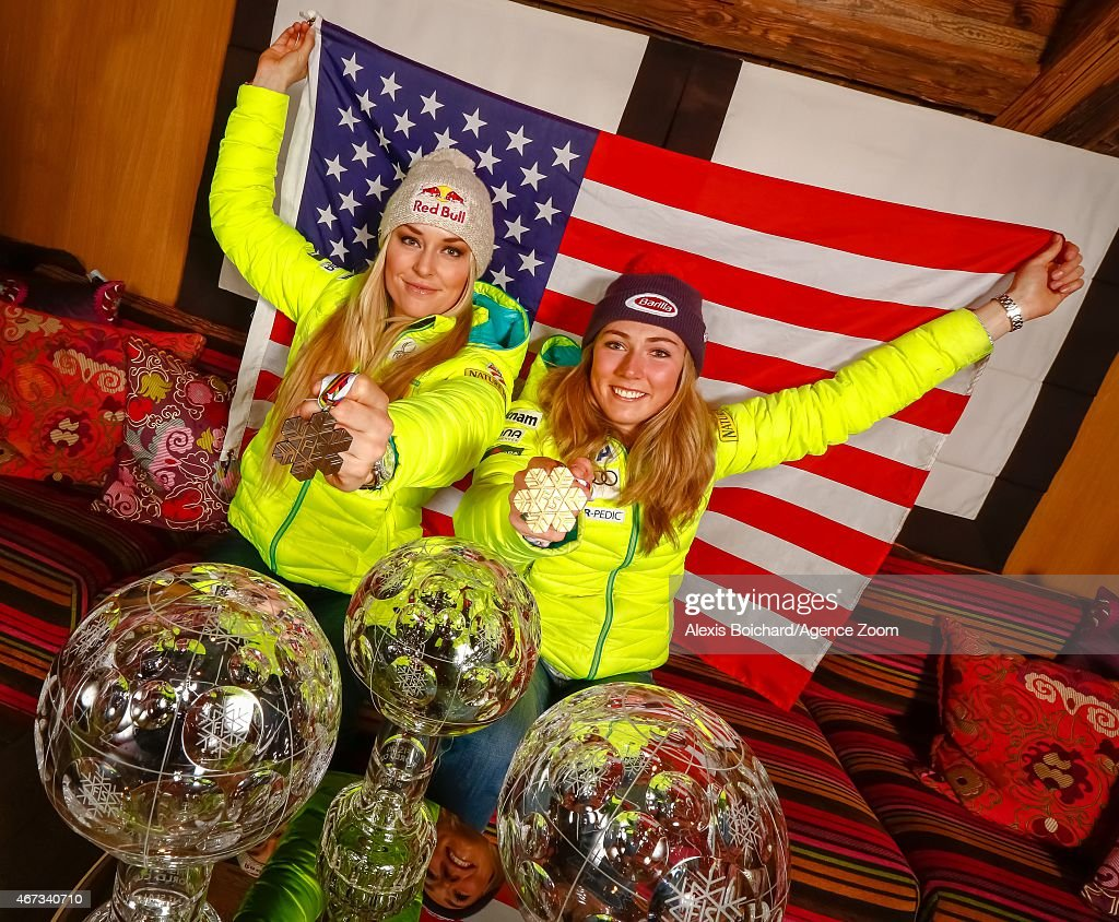 American World Championship medallists and World Cup globe winners Mikaela Shiffrin and Lindsey Vonn pose for a photo shoot during the Audi FIS Alpine Ski World Cup Finals on March 22, 2015 in Meribel, France.
