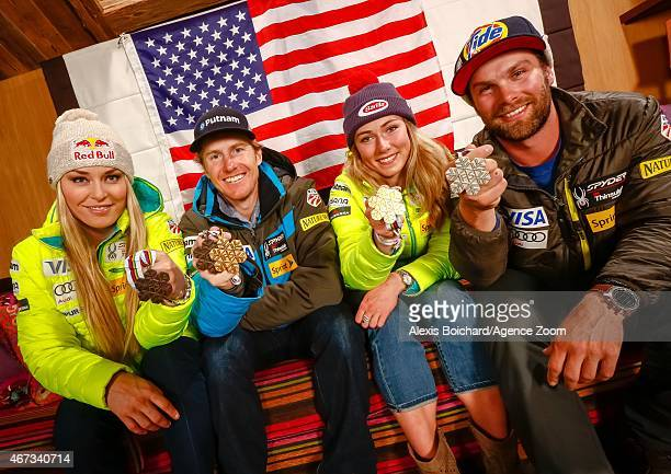 American World Championship medallists Lindsey Vonn Ted Ligety Mikaela Shiffrin and Travis Ganong pose for a photo shoot during the Audi FIS Alpine...