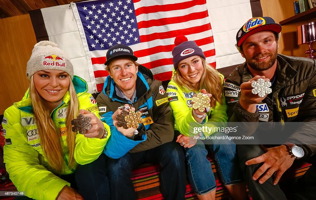 American World Championship medallists Lindsey Vonn, Ted Ligety, Mikaela Shiffrin and Travis Ganong pose for a photo shoot during the Audi FIS Alpine Ski World Cup Finals on March 22, 2015 in Meribel, France.
