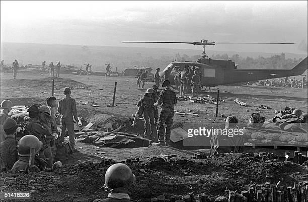 American wounded soldiers of the special forces are evacuated by helicopter from a camp in Plei Me south Vietnam 01 November 1965
