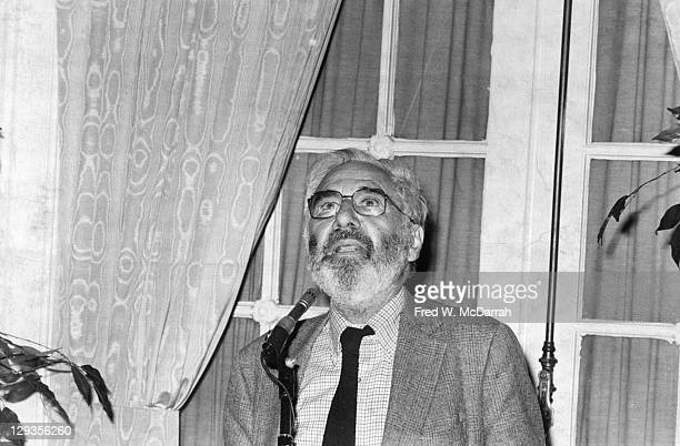 American writer and critic Alfred Kazin speaks at an event sponsored by the Partisan Review at the Lotus Club New York New York October 24 1984