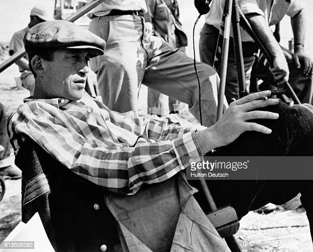 American writer and director John Huston on the set of the film The Red Badge of Courage ca 1955
