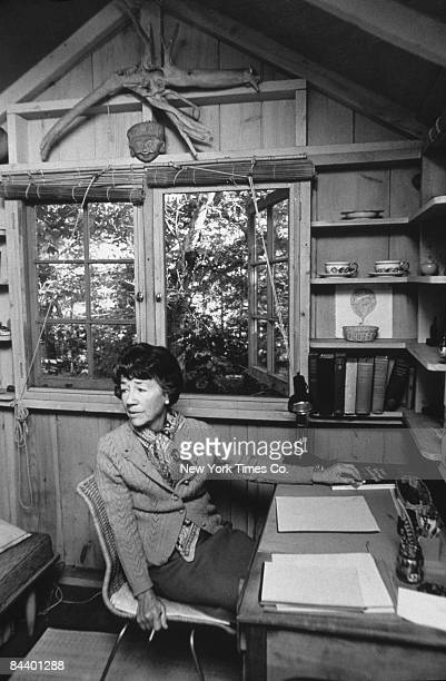American writer and wife of aviator Charles Lindbergh Anne Morrow Lindbergh in her study at home Tokeneke Estates Darien Connecticut 10th October 1969