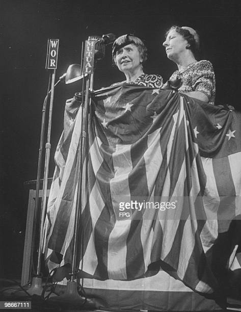 American writer educator and advocate for the disabled Helen Keller at a rally in support of American politician Henry A Wallace circa 1946 She is...