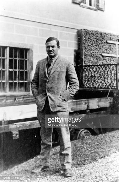 American writer Ernest Hemingway in the courtyard of his house in Paris in Rue Notre Dame des Champs Paris 1924