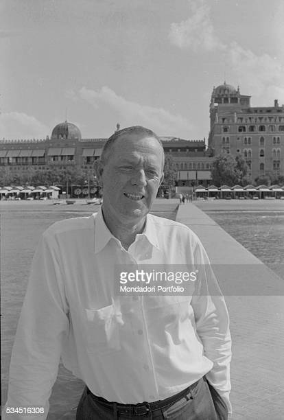 American writer Erskine Caldwell at the beach along the Lido during the 19th Venice International Film Festival. Venice, August 1958