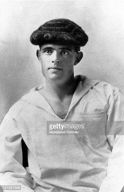 American writer Jack London wearing a sailor jacket and a beret At the time he worked as ship boy aboard the schooner 'Sophie Sutherland' USA 1890s