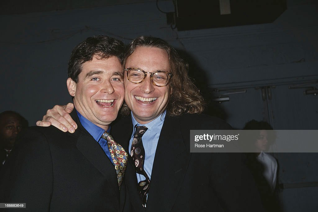 American writer Jay McInerney (left) with publisher Morgan Entrekin at a New Yorker party, USA, 1994.