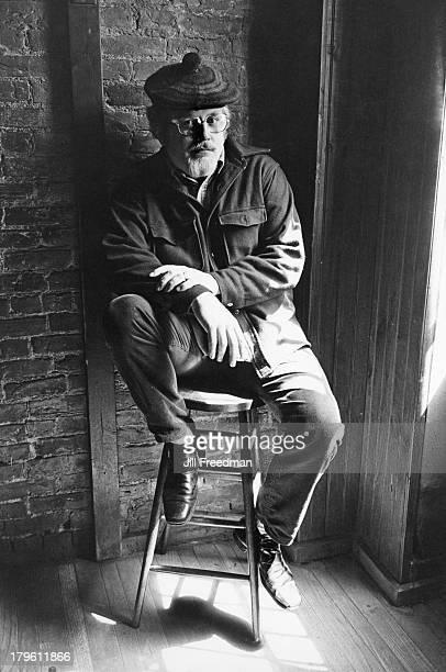American writer Joe Flaherty in 'The Lion's Head' bar Sheridan Square Greenwich Village New York City circa 1980