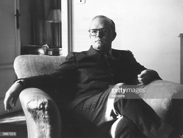 American writer Truman Capote the author of 'Breakfast At Tiffany's' in Milan negotiating a contract for his new nonfiction novel 'In Cold Blood'