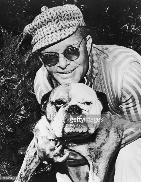 American writer Truman Capote with his dog 1973