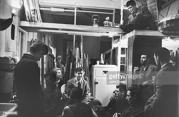 American writers and other creative artists of the socalled 'Beat generation' attend a party for the film 'Pull My Daisy' at the director Alfred...