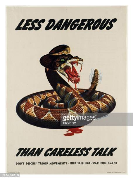 American WWII propaganda poster warning of the security dangers of talking about military movements and strategies