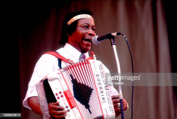 American zydeco musician Alton Jay Rubin or Rockin' Dopsie performs on accordion on stage at the Petrillo Bandshell in Chicago Illinois June 11 1989