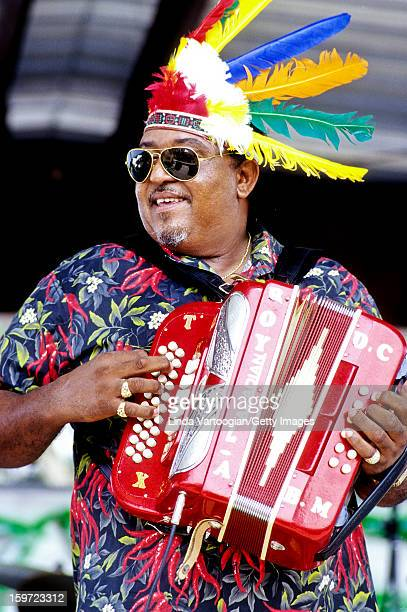 American Zydeco musician Roy Carrier performs with his band the Night Rockers at the 15th Annual Original SW Louisiana Zydeco Music Festival,...