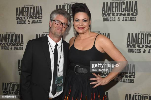 Americana Music Association Executive Director Jed Hilly and Angaleena Presley attend the 2017 Americana Music Association Honors Awards on September...