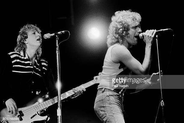 Americanbased rock band Foreigner performs onstage at the Rosemont Horizon Rosemont Illinois November 8 1981 Pictured are Rick Wills on bass guitar...