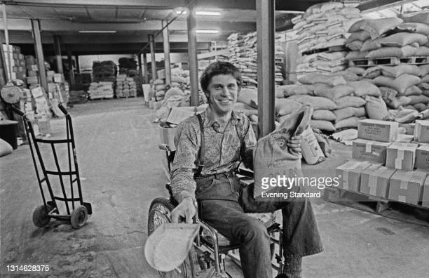 American-born artist and writer Greg Sams, a proponent of macrobiotic foods, UK, 1st May 1974. He set up organic food store Harmony Foods with his...
