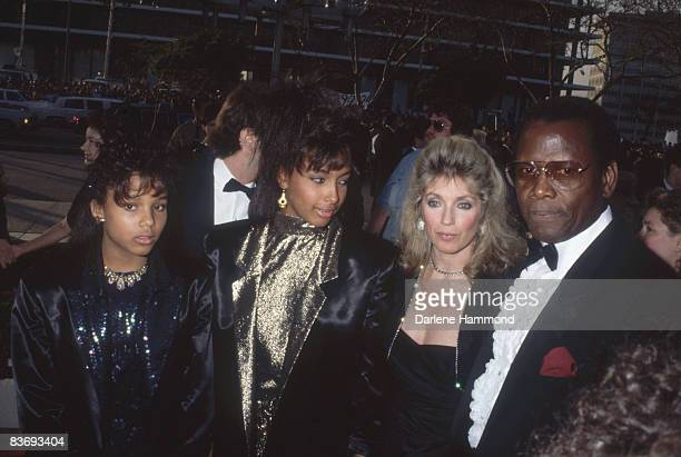 Americanborn Bahamania actor Sidney Poitier and his family wife Joanna and daughters Sydney and Anika attend the Academy Awards at the Dorothy...