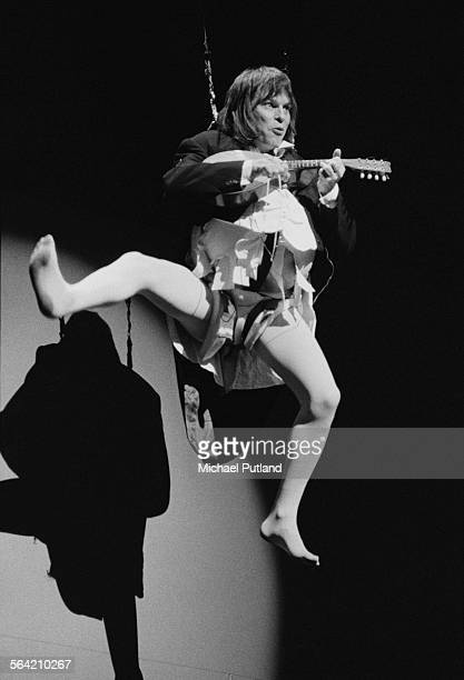 Americanborn British comedian and filmmaker Terry Gilliam performing with British comedy group Monty Python on stage at the New York City Center New...