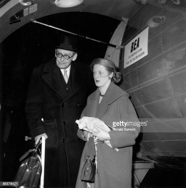 Americanborn British poet and dramatist T S Eliot with his second wife Valerie returning from their French honeymoon on the BEA Airspeed AS 57...