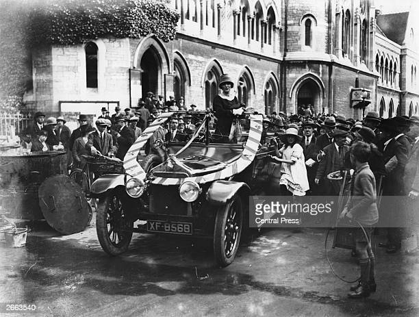 American-born British politician Nancy Astor , wife of 2nd Viscount Waldorf Astor, campaigns at Plymouth in the 1924 General Elections. Original...