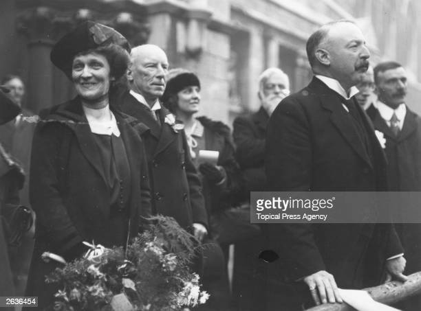 Americanborn British politician Nancy Witcher Langhorne Viscountess Astor at the declaration of the poll in Plymouth She becomes the first woman...