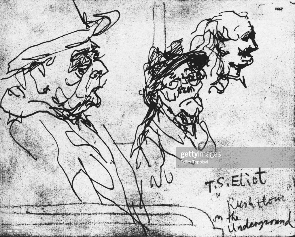 American-born dramatist, poet and literary critic Thomas Stearns Eliot (1888 - 1965) travels on the London Underground during rush hour. A sketch by Polish-born British expressionist Feliks Topolski from Topolski's Chronicle Vol X, pub. 1962.