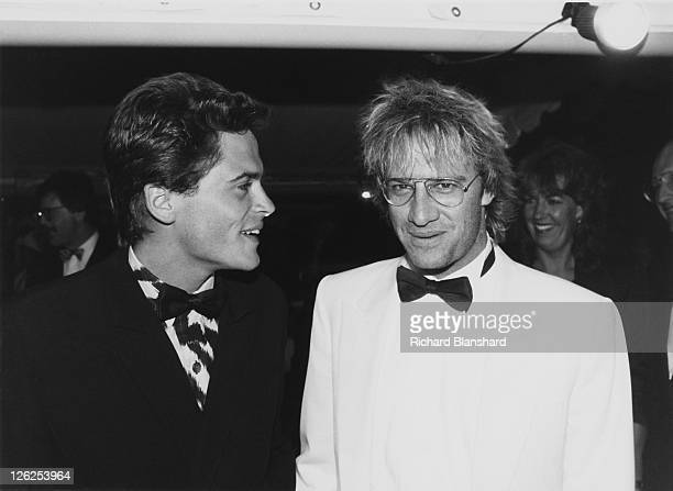 Americanborn French actor Christopher Lambert with American actor Rob Lowe at the Cannes Film Festival in France circa 1987