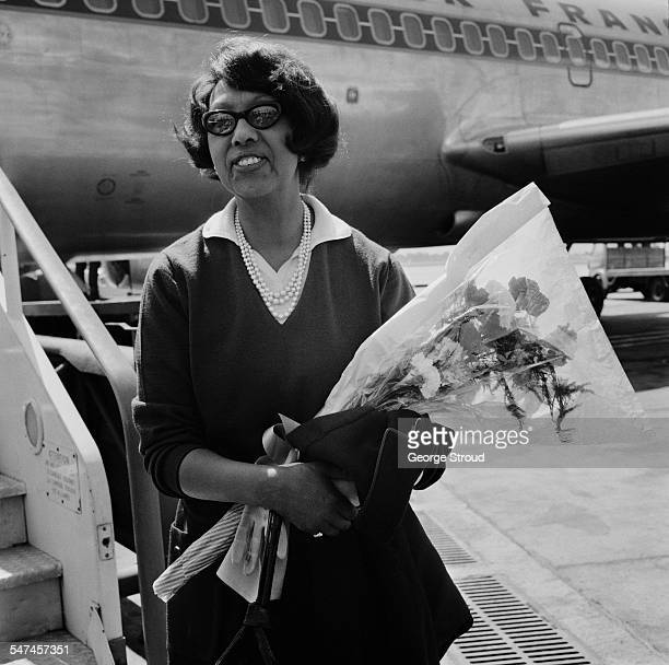 Americanborn French dancer singer and actress Josephine Baker arrives at London Airport 12th June 1967