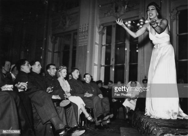 Americanborn French entertainer Josephine Baker performs for troops at the British Leave Club at the Hotel Moderne in Paris World War II May 1940