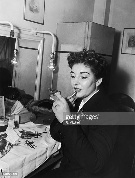 Americanborn Greek opera singer Maria Callas in her dressing room at the Royal Opera House in Covent Garden after a successful performance in the...