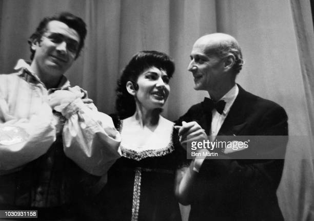 American-born Greek soprano Maria Callas and Franco Corelli Rudolph Bing taking bows following 'Tosca' at the Metropolitan Opera, March 19th, 1965.