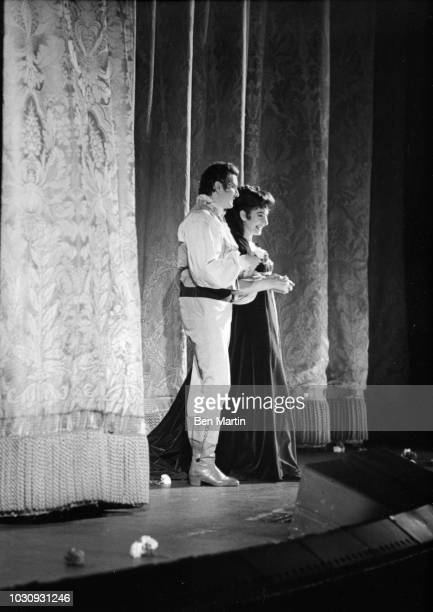 American-born Greek soprano Maria Callas with Franco Corelli in 'Il Pirata' at the American Opera Society gala, taking bows, December 27, 1959.