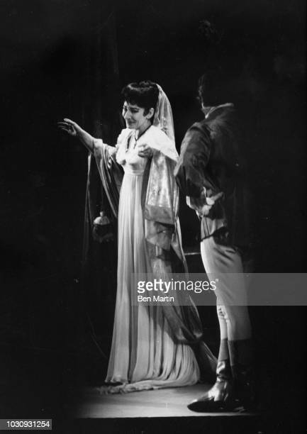 American-born Greek soprano Maria Callas with Franco Corelli in 'Il Pirata,' American Opera Society, taking bows, December 27, 1959.