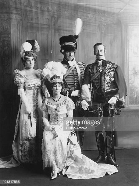 Americanborn heiress Mary Goelet Duchess of Roxburghe with fellow guests at the 150 Years Ago Ball held at the Albert Hall London June 1912