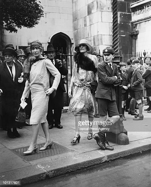 Americanborn heiress Mary Goelet Duchess of Roxburghe with Lady Alistair InnesKerr leaving the wedding of Cynthia Burns at St Margaret's London 12th...