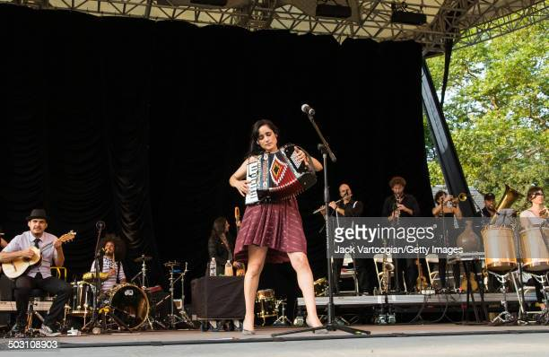 Americanborn Mexican musican Julieta Venegas plays accordion as she headlines the 9th Annual Latin Alternate Music Conference concert at Central Park...