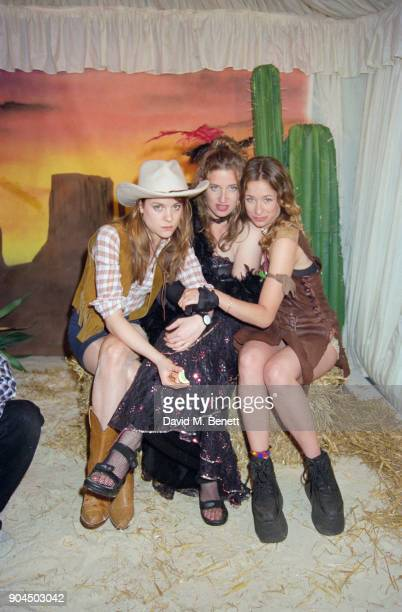 AmericanBritish singer Leah Wood and friends attending Ronnie Wood's 50th Cowboy themed birthday party Kingston Upon Thames UK 31st May 1997