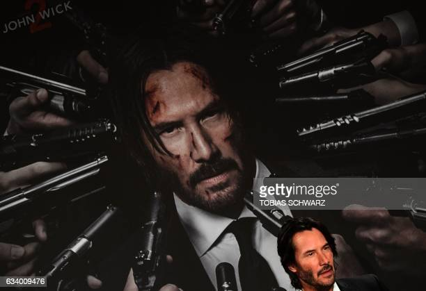 AmericanCanadian Actor Keanu Reeves poses during a photo call to present the film John Wick Chapter 2 in Berlin on February 6 2017 / AFP / Tobias...