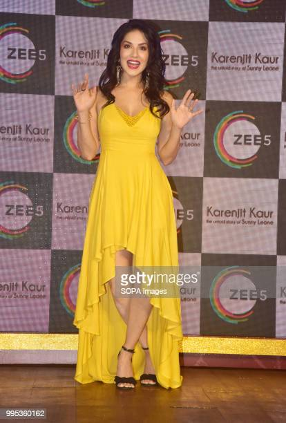 AmericanCanadianIndian actress Sunny Leone pose for picture on the event where her Biopic 'Karenjit Kaur' launch in Mumbai
