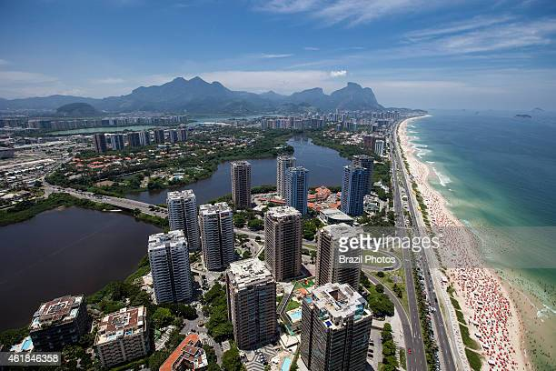 Americanized lifestyle at Barra da Tijuca district - luxury condominiums with leisure infrastructure aerial view of the 18 km long Barra beach, the...